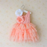 Wholesale gown decorations resale online - NEW Girl clothes girl Dresses Kids Boutique Lace Suspender Tutu dress Girl Elegant Big Flower Decoration Lace Ball Gown Wedding Dress