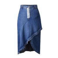 ea7fa7a7758 Горячие продажи джинсы юбки женщин длинные асимметричные дешевые  сексуальные юбки средней теленка высокой талии 2018 летняя мода высокой талии  юбка