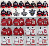 backstrom formaları toptan satış-Washington Capitals 2018 Stanley Kupası Şampiyonu 8 Alex Ovechkin T.J. Oshie Nicklas Backden Braden Holtby Evgeny Kuznetsov Tom Wilson Jersey