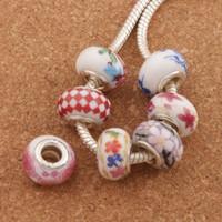 mistura cerâmica venda por atacado-925 de prata artesanal de porcelana de cerâmica Big Hole Beads 60 pçs / lote Mix 14X9mm Fit encantos europeus pulseiras jóias DIY