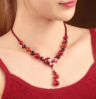 Wholesale glasses rope pearl for sale - Group buy Red rope glass short pendant with garnet collarbone accessories vintage necklace