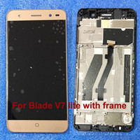 yeni zte telefonlar toptan satış-Yeni ZTE Blade V7 Lite LCD Meclisi Için Ekran + Dokunmatik Ekran Değiştirme Altın Ile ZTE V7 Lite Telefon Cam sensör lens çerçeve