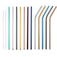 ingrosso paglia piegata-Cannucce colorate in acciaio inox 8.5