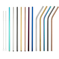 Wholesale Stainless Steel Colored Drinking Straws quot quot quot Bent and Straight Reusable Drinking Straws