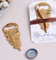 Wholesale birthday souvenirs for kids resale online - quot Gilded Gold quot Feather Bottle Opener Wine Opener Souvenir For Birthday Parties Kids Adult Birthday Favors And Gifts