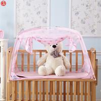 katlanır bebek yatakları toptan satış-Ev tekstili pembe cibinlik çocuk çocuklar için bebek bebek yatağı net moğol yurt örgü örgü katlanır mor sevimli böcek