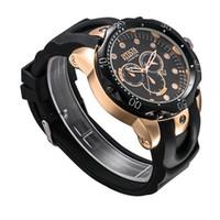 dz acero al por mayor-Nuevo reloj de cuarzo suizo INVICTA Reloj de pulsera Acero inoxidable Oro rosa Hombres Deporte Militar DZ Relojes Correa de silicona Ejército Calendario Reloj