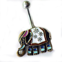 Wholesale dangling belly bars - D0703 (1 color ) New Belly Rings Elephant Dangle Belly Button Rings Body Piercing Navel Rings Stainless Steel Bars Body Jewelry