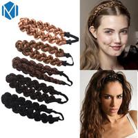 головная повязка для волос оптовых-M MISM 3CM Synthetic Wig Twist Hair Bands Fashion Braids Hair Accessories Women Bohemian Plait Elastic Headband Stretch Bandana