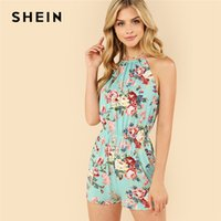 e66a5bf585 floral summer jumpsuits Canada - SHEIN Multicolor Vacation Bohemian Beach  Floral Print Backless Halter Sleeveless High