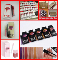 Wholesale Red Hot Velvet - HOT Kylie Lipgloss Lipstick Kylie Jenner Cosmetics lip Kit Lip gloss+Lip liner Liquid Matte Lip stick Red Velvet Makeup free shipping