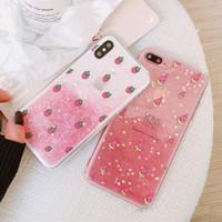 étui iphone rose clair achat en gros de-Coque rose fraîche de fraise de melon d'eau pour Iphone 6 6s 7 8 Plus la couverture de cas de Tpu de fruit clair de dégradé de fruit clair