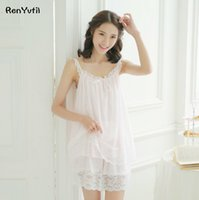 Wholesale Woman Elegant Pajamas - RenYvtil Princess Pajamas 2017 Summer Women Sleeveless Royal Retro Lace Pajama Shorts Sets Sweet Elegant Lace Pyjama Lounge Set