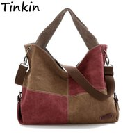 Wholesale young phone - Tinkin Patchwork Canvas Women Handbags Tote Vintage Femal Shoulder Bag Contrast Color Crossbody Bag for Young Fashion Travel Bag