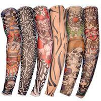 бесплатные тату-проекты оптовых-6 PCS New Nylon Elastic Fake Temporary Taoo Sleeve Designs Body Arm Stockings Tatoo for Cool Men Women Free shipping D01040