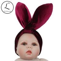 accesorios conejos al por mayor-2018 Nueva Moda Lindo Bebé Niñas Orejas de Conejo Hairbands Niños Niños Bunny Headwear Flannel Party Accesorios para el Cabello Apoyos de la Foto