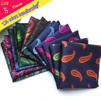 pañuelo para hombre al por mayor al por mayor-(5 Unids / lote) Venta al por mayor de Los Hombres 100% Pañuelo de Seda de Lujo Paisley Floral Bolsillo Cuadrado Toalla de Cose ...