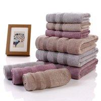 bambu lifi toptan satış-Üç parçalı saf renk ağır Bambu elyaf havlu havlu banyo havlusu yetişkinler için GMS 500g su emme toallas