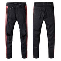 jeans diseñados cool al por mayor-2018 Nuevos hombres de moda vaqueros versión de calidad superior famoso diseño de la marca para hombre rasgado jeans cool street biker jean man