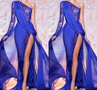 vestido azul de hendidura alta al por mayor-Zuhair Murad 2019 Royal Blue Vestidos de noche Un hombro Sheer Royal Blue High Side Slit Lace Crystal Prom Vestidos de fiesta Vestido formal BO9766