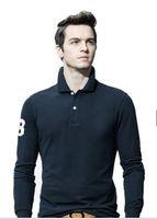 ingrosso polo grandi uomini di vendita-2018 Nuova vendita calda 19 colore Polo Shirt uomo grande piccolo cavallo coccodrillo solido a maniche lunghe estate Polo casual uomo Slim Polo casual camicia M-4XL