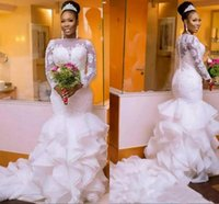 Wholesale fishtail wedding dress sheer lace resale online - 2018 South African Nigerian Wedding Dresses Plus size Long Sleeve Sheer Neck Bodycon Fishtail Mermaid Bridal Gowns Beaded Chic Layer Ruffles