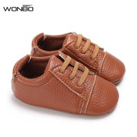 резиновые сапоги оптовых-6 Colors New Autumn Baby Shoes PU Leather Toddler Baby Girl Shoe Lace-up Solid Soft Rubber Anti-slip Boy Shoes