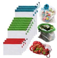 Wholesale washable food - 5pcs set Reusable Produce Bags Black Rope Mesh Bags Fruit Vegetable Toys Mesh Storage Bags Washable Eco Friendly Pouch CCA10047 10set