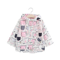 baby neujahr kostüm großhandel-Neues Jahr Kostüme Mädchen Trenchcoat Baby Mädchen Jacke Für Mädchen Cartoons Cat Print Jacke Kinder Oberbekleidung Mantel Kinder Kleidung