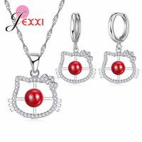 ingrosso oro zircone rosso argento sterling-JEXXI Lovely Cat Shape Pendant Necklace Orecchini Set di gioielli 925 Sterling Silver Red Cubic Zircone Women Fashion Gift