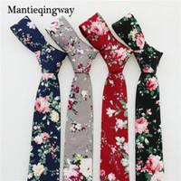 мужские 6см шейные стяжки оптовых-Mantieqingway 6cm Cotton Ties for Mens Brand Skinny Floral Necktie Causal Narrow Black Neck Tie Bussines Gravatas Tie Corbatas