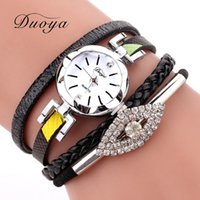 заплетенные кожаные часы оптовых-2018 Watches Women  Braided Leather Strap Clock Bracelet Watch Eye Rhinestone Ladies Quartz Watches Reloj Mujer -30