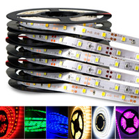 leds smd 3528 ip65 12v al por mayor-Rollo de 5 m. Luz de decoración SMD5050 3528 5630 IP65 IP20 Tiras de luces Luz Caliente, Blanco, Rojo, Verde RGB Tira flexible 300 Leds dc12V
