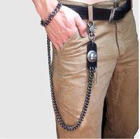 cadena de eslabones del cráneo al por mayor-Mens Black Gun Cadenas de billetera extra largas Grueso Metal Cuban Curb Links KeyChain Cuero negro Skull Jeans Chunky Biker Chain -70cm