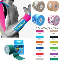 Wholesale elastic bandage tape - Elastic Cotton Roll Adhesive Sport Injury Muscle Tape Strain Protection Tapes First Aid Bandage Support Kinesiology Tape