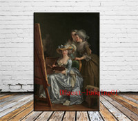 Wholesale portrait nude painting art resale online - Labille Guiard Self Portrait with Two Pupils Canvas Pieces Home Decor HD Printed Modern Art Painting on Canvas Unframed Framed