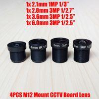 Wholesale M12 Board Lenses - 4PCS Lot Mixed 3MP 2.1mm 2.8mm 3.6mm 6mm CCTV Fixed Iris IR Board Lens M12 MTV Interface Mount for 960P 1080P Analog IP Camera
