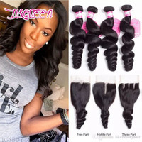 Wholesale remy hair weave lengths online - Brazilian Virgin Hair with closure Extensions Bundles Brazilian Loose Wave With x4 Lace Closure Unprocessed Remy Human Hair Weave
