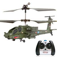 control remoto para avión de juguete al por mayor-Más reciente RC Helicóptero SYMA S109G 3CH Simulación Apache Drone Radio Control Remoto Modelo de Avión Militar Novedad KId Juguetes Regalo 84pp YY