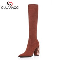 размер пятки женщин 33 оптовых-CULARACCI 4 Colors Size 33-43 Women Winter Shoes Short Boots Winter Warm Shoes Ladies  Thick Heel Fashion Shoes Footwear
