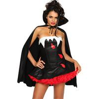 schwarze königin kostüm großhandel-Halloween Women Evil Black Vampir Kostüm Sexy Schulterfrei Devils Bat Queen Kostüm mit Mantel