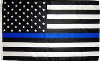 ingrosso bandiere americane trasporto libero-fabbrica diretta libera di trasporto 3x5Fts 90cmx150cm gli ufficiali di applicazione di legge USA la polizia americana sottile blu della bandiera americana