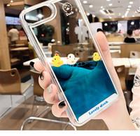 ingrosso cassa di telefono liquido 3d-YunRT Cartoon 3D Duck Animal Dynamic Liquid Quicksand Cover Case per Apple iPhone 5 5S 5SE 6 6S 7 8 Plus X Custodie per cellulari