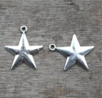 Wholesale antique solid silver - 15pcs lot--Solid Star Charms, Antique Tibetan Silver Tone 2 Sided star charm pendants 22x18mm