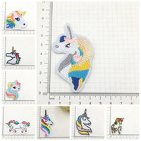 Wholesale clothing repair - 8styles Embroidery Unicorn Appliques Embroidered Cloth Paste Stickers Repair Patches Kids Clothing Hat Bag Decor Paste GGA598 1000pcs