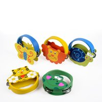 ingrosso strumento animale-Baby Woodiness Cartoon Bell Strumenti a percussione Carl Orff Animal Tamburello Early Education Noisemaker Toys Sense Of Hearing 7cw W