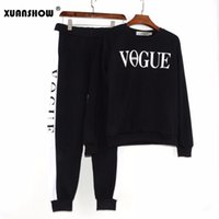 Wholesale winter autumn outfits - XUANSHOW Autumn Winter 2 Piece Set Women VOGUE Letters Printed Sweatshirt+Pants Tracksuits Long Sleeve Sportswear Outfit Track Suit