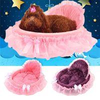 lüks pet mat toptan satış-Prenses Köpek Küçük Köpekler Pembe Dantel Köpek Evi Pet Köpek Oyuncak Yatak Kedi Köpek yatak Lüks Nest Mat Kennels İçin Yumuşak Çekyat
