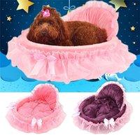 köpek yavrusu pembe toptan satış-Prenses Köpek Yatak Küçük Köpekler Için Yumuşak Kanepe Pembe Dantel Yavru Evi Pet Doggy Teddy Yatak Kedi Köpek Yatakları Lüks Yuva Mat Kennels