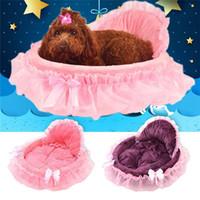 luxus haustiermatte großhandel-Prinzessin Hundebett Weiches Sofa Für Kleine Hunde Rosa Spitze Welpenhaus Haustier Hündchen Teddy Bettwäsche Katze Hundebetten Luxus Nest Mat Zwinger